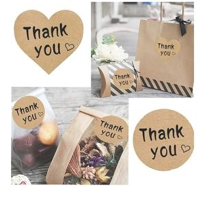 150 Kraft assorted thank you stickers